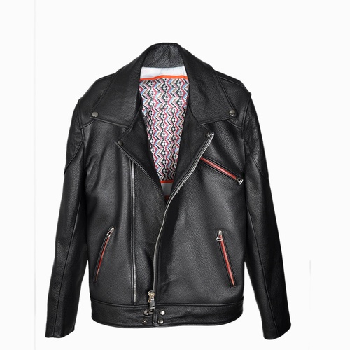 Vivid Black Leather Jacket